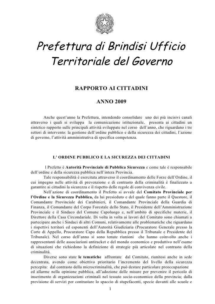 Prefettura di Brindisi Ufficio      Territoriale del Governo                            RAPPORTO AI CITTADINI             ...