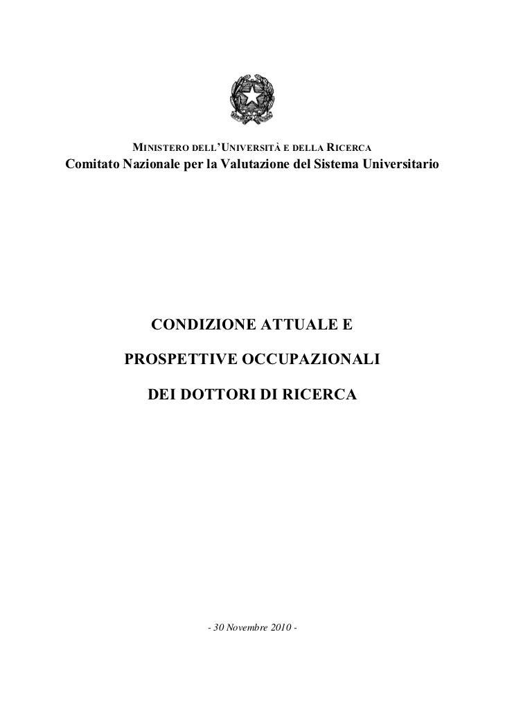 MINISTERO DELL'UNIVERSITÀ E DELLA RICERCAComitato Nazionale per la Valutazione del Sistema Universitario              COND...