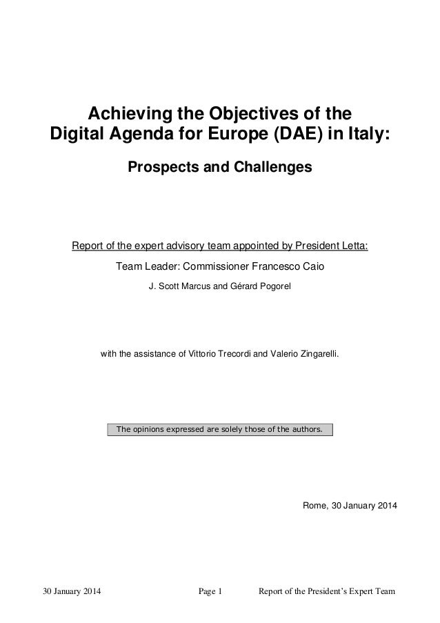Achieving the Objectives of the Digital Agenda for Europe (DAE) in Italy: Prospects and Challenges  Report of the expert a...