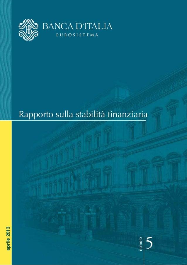Rapporto sulla stabilità finanziarianumero5aprile2013