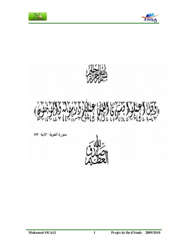 Mohamed OUALI 1 Projet de fin d'étude 2009/2010