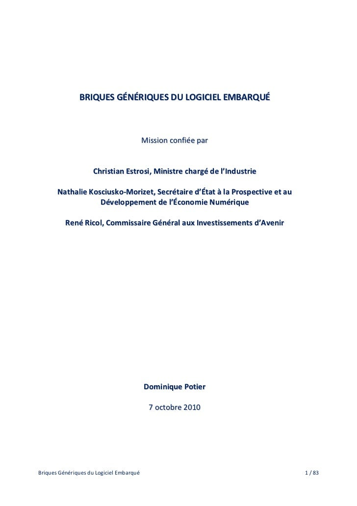 BRIQUES GÉNÉRIQUES DU LOGICIEL EMBARQUÉ                                          Mission confiée par                     C...