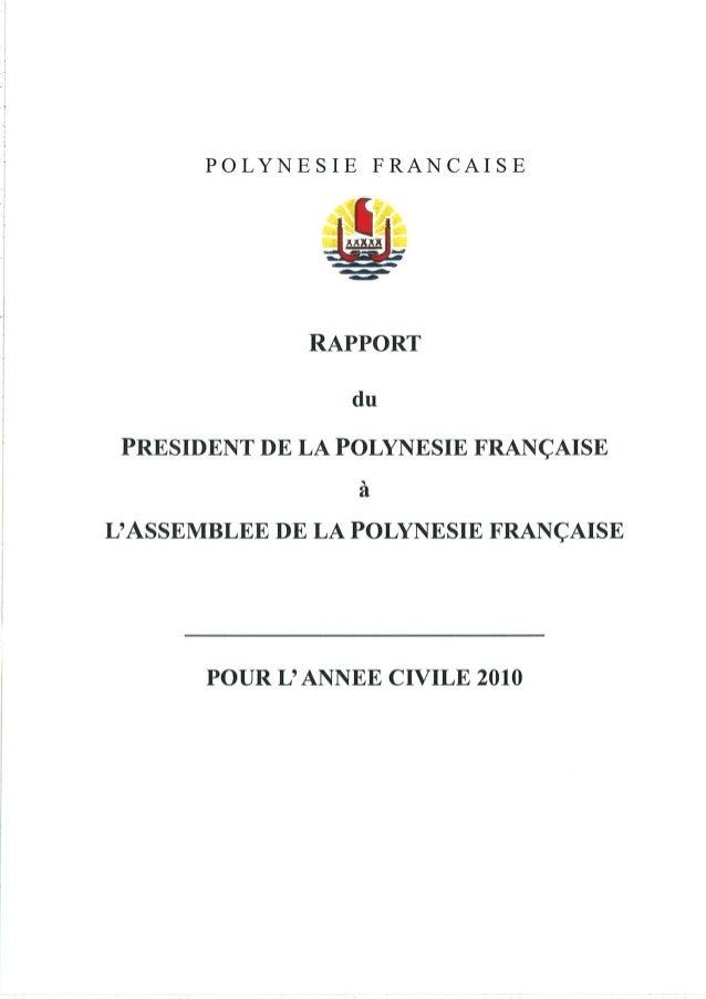 Rapport du Président à l'Assemblée de Polynésie Française - année 2010