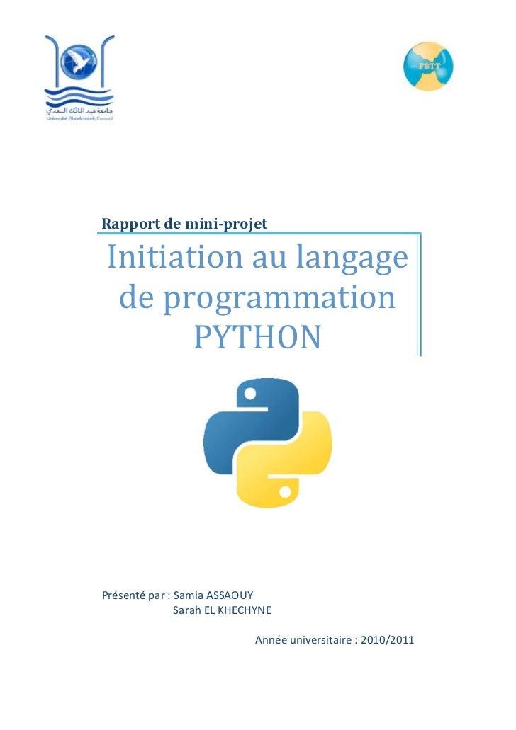 Initiation au langage python