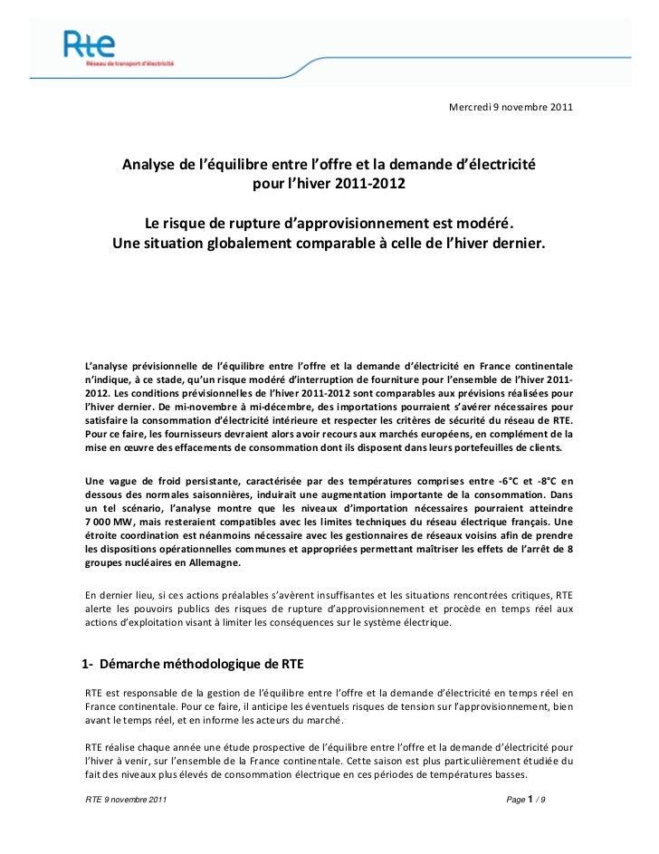 Mercredi 9 novembre 2011        Analyse de l'équilibre entre l'offre et la demande d'électricité                          ...