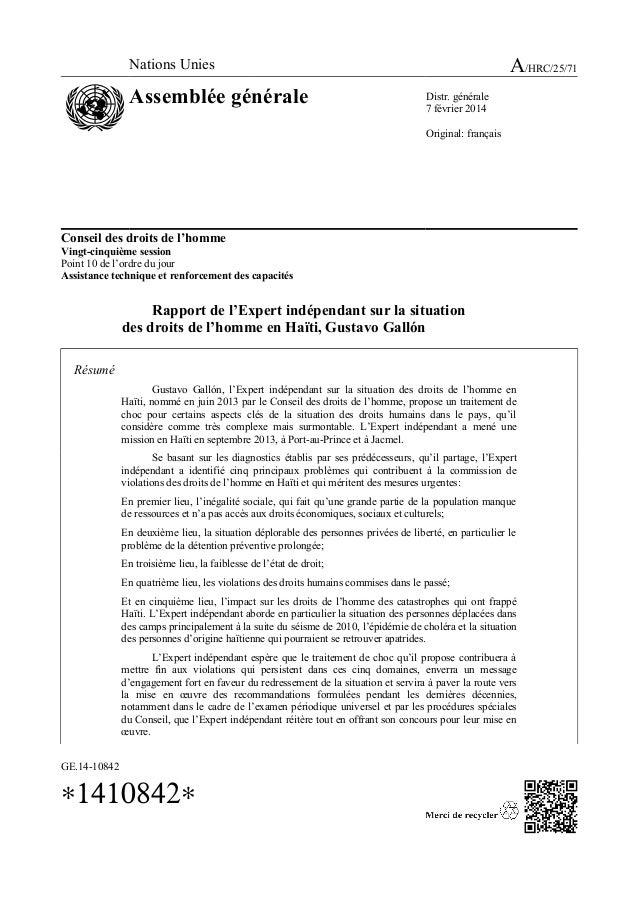 Conseil des droits de l'homme Vingt-cinquième session Point 10 de l'ordre du jour Assistance technique et renforcement des...