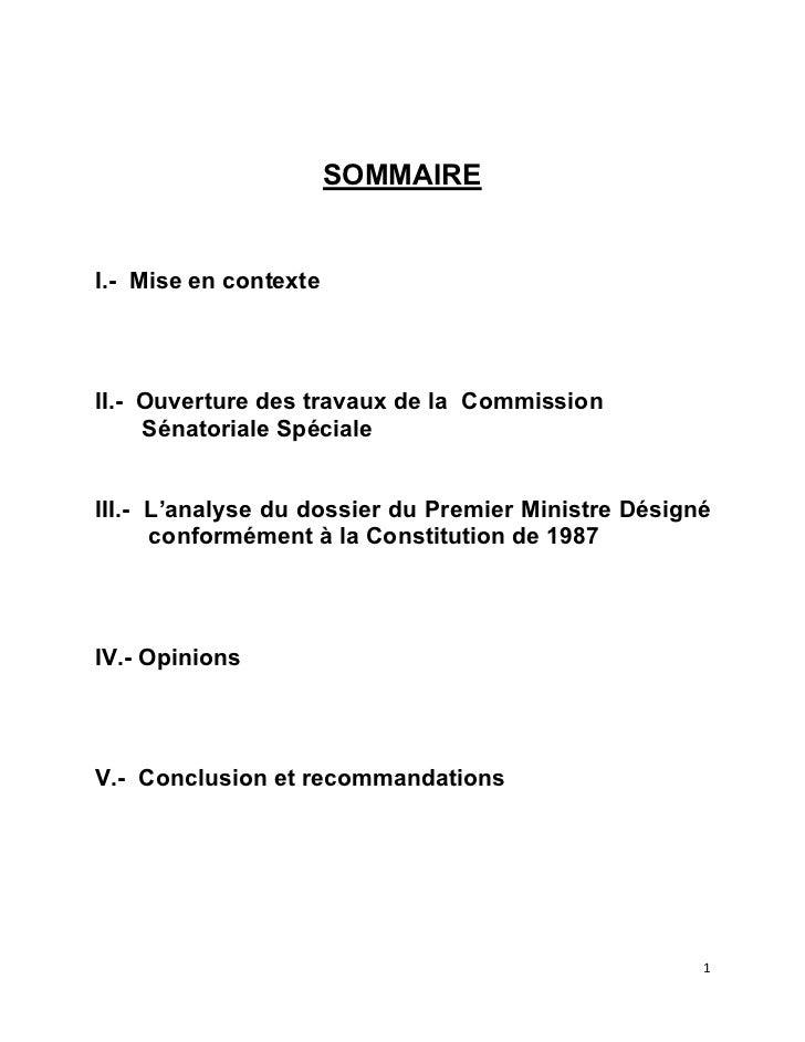 RAPPORT DE LA COMMISSION SPECIALE CHARGEE D'EXAMINER LE DOSSIER DU PREMIER MINISTRE DESIGNE MONSIEUR LAURENT SALVADOR LAMOTHE.