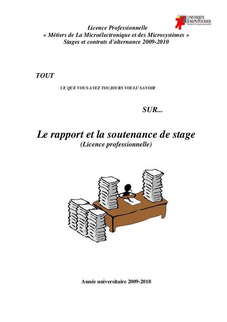 Licence Professionnelle « Métiers de La Microélectronique et des Microsystèmes »         Stages et contrats d'alternance 2...