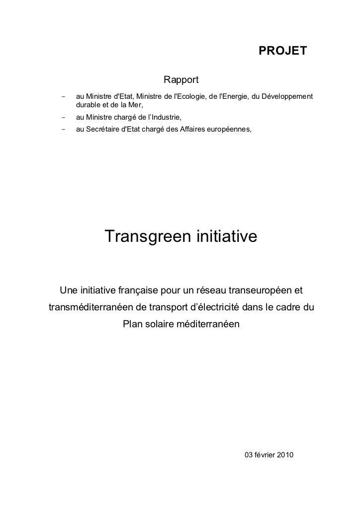 PROJET                                       Rapport       -   au Ministre dEtat, Ministre de lEcologie, de lEnergie, du D...