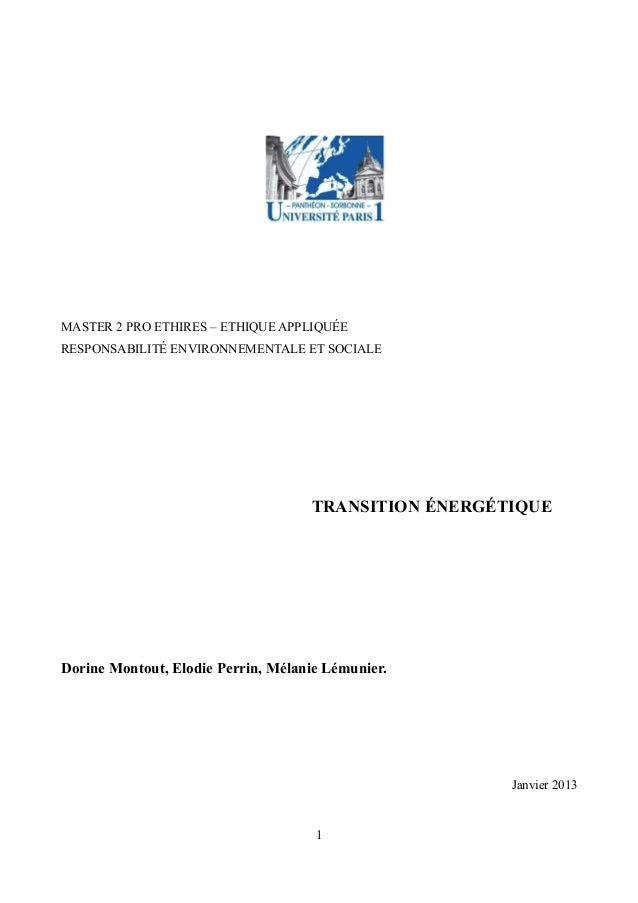MASTER 2 PRO ETHIRES – ETHIQUE APPLIQUÉE RESPONSABILITÉ ENVIRONNEMENTALE ET SOCIALE TRANSITION ÉNERGÉTIQUE Dorine Montout,...