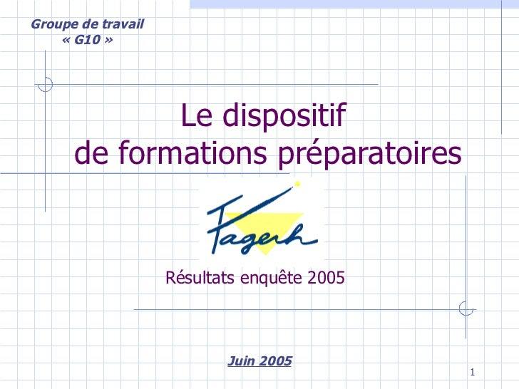 Le dispositif  de formations préparatoires Juin 2005 Groupe de travail «G10» Résultats enquête 2005