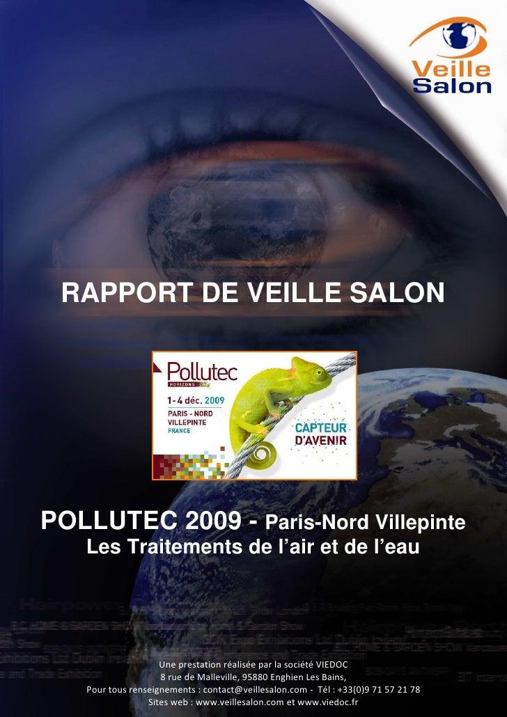 RAPPORT DE VEILLE SALON     POLLUTEC 2009 - Paris-Nord Villepinte    Les Traitements de l'air et de l'eau                 ...