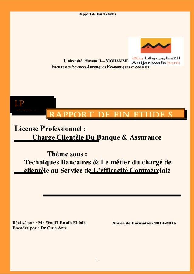 Université Hassan II---MOHAMMEDIA Faculté des Sciences Juridiques Economiques et Sociales License Professionnel : Charge C...