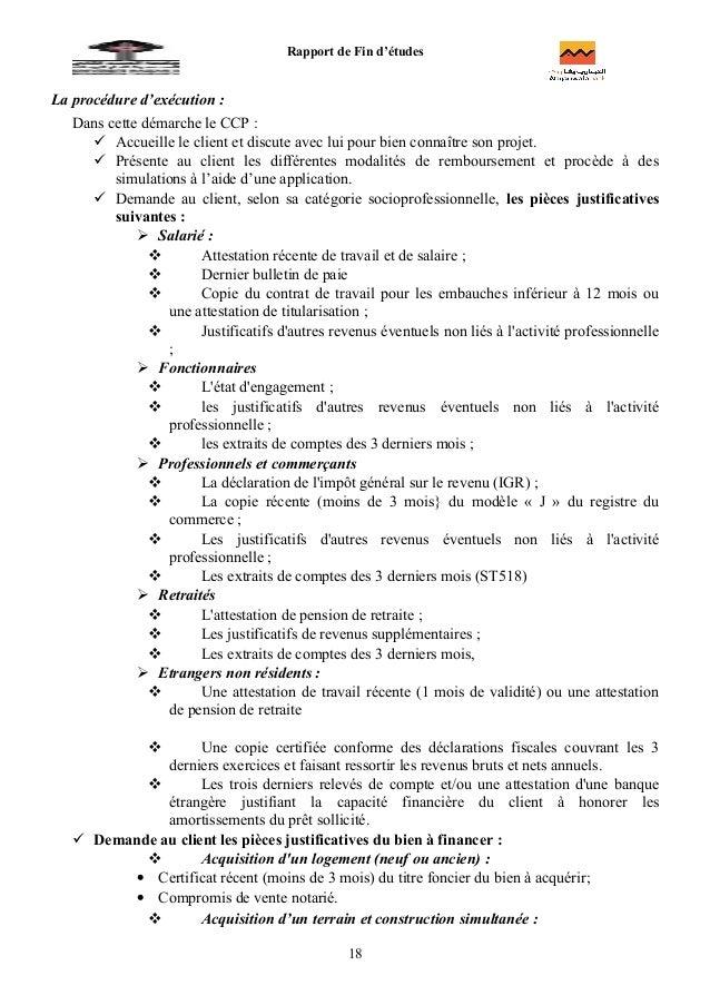 Rapport wadiaarapport de fin etudes charge client le du - Pret d union pieces justificatives ...