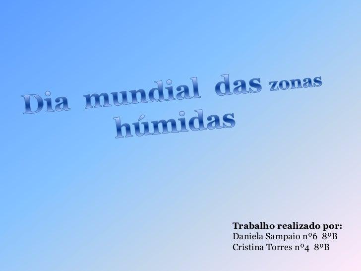 Dia  mundial  das zonas  húmidas<br />Trabalho realizado por:<br />Daniela Sampaio nº6  8ºB<br />Cristina Torres nº4  8ºB<...