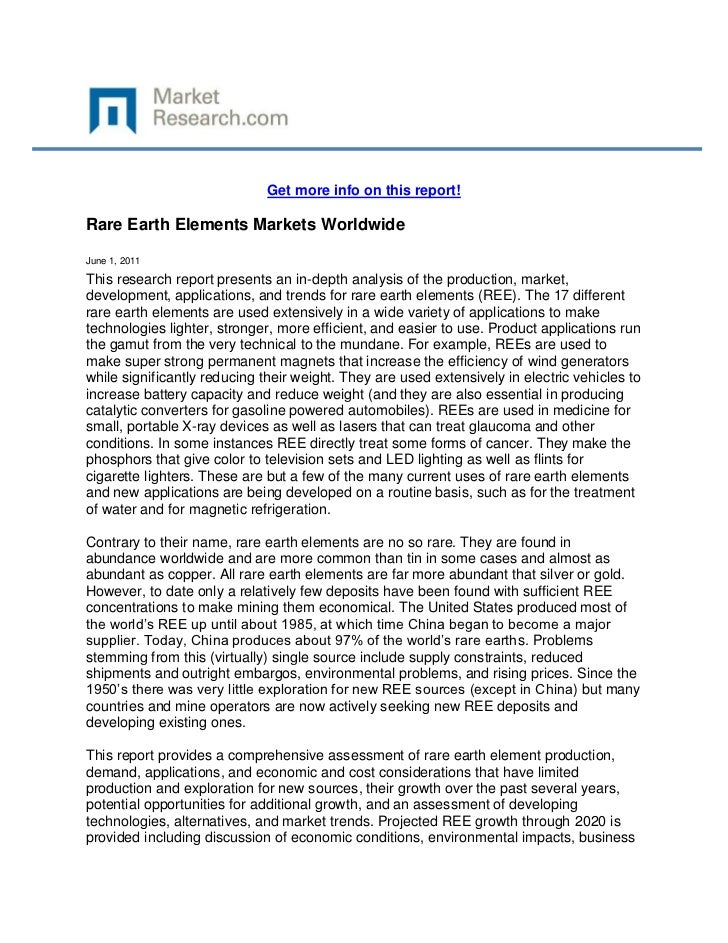 Get more info on this report!Rare Earth Elements Markets WorldwideJune 1, 2011This research report presents an in-depth an...