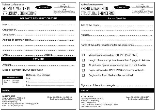 Rase2013 registration form