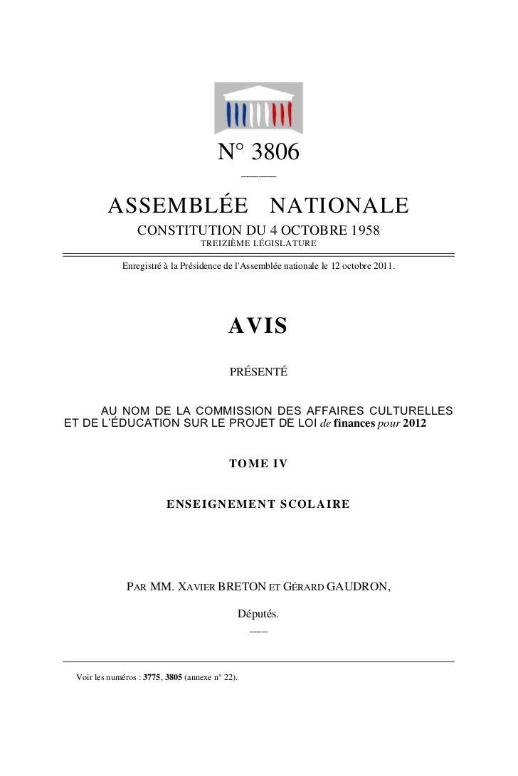 N° 3806                                                 ______         ASSEMBLÉE NATIONALE                  CONSTITUTION D...
