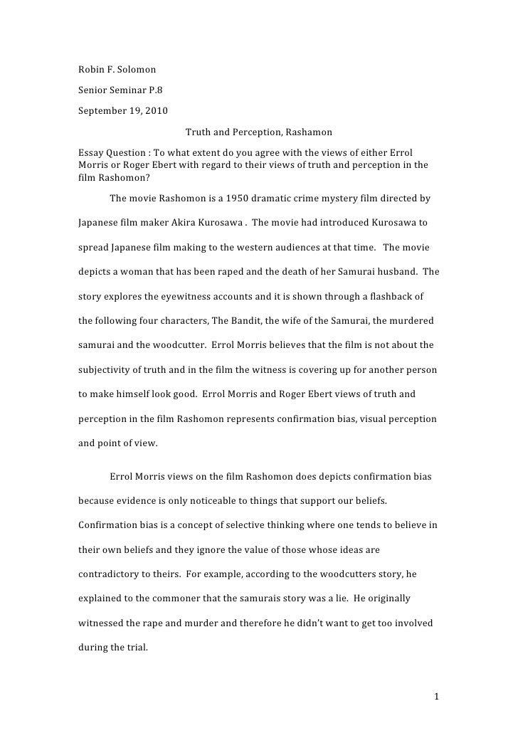 Rashamon : Truth and Perception