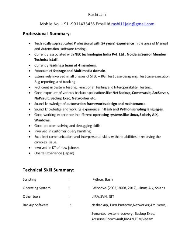 rashi jain resume test engineer