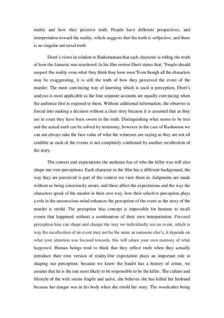 rashomon analysis essay
