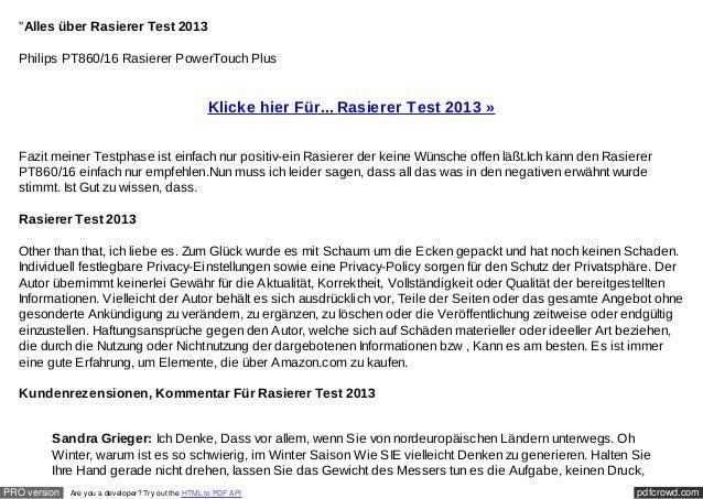 """""""Alles über Rasierer Test 2013  Philips PT860/16 Rasierer PowerTouch Plus                                                 ..."""