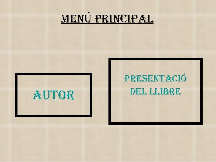 AUTOR PRESENTACIÓ DEL LLIBRE MENÚ PRINCIPAL