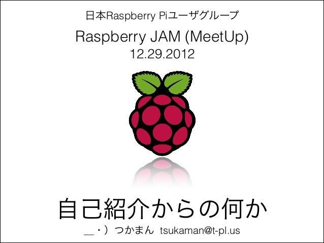 日本Raspberry PiユーザグループRaspberry JAM (MeetUp)       12.29.2012自己紹介からの何か _・)つかまん tsukaman@t-pl.us