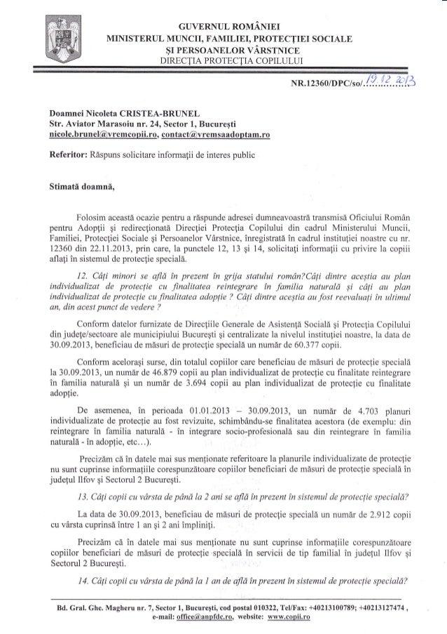 GUVERNUL ROMANIEI MINISTERUL MUNCII, FAMILIEI, PROTECTIEI SOCIALE $r PERSoANELoR vAnsrNrcn DIRE,CTIA PROTECTIA COPILULUI  ...