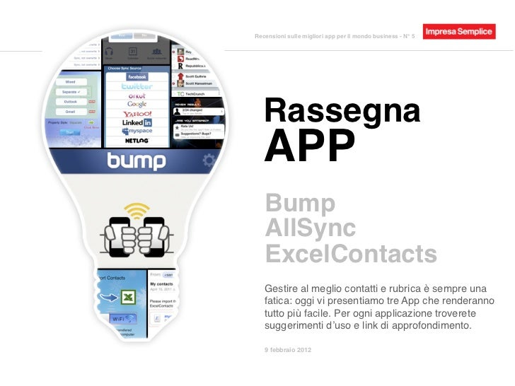 Rassegna App - Bump, AllSync, ExcelContacts