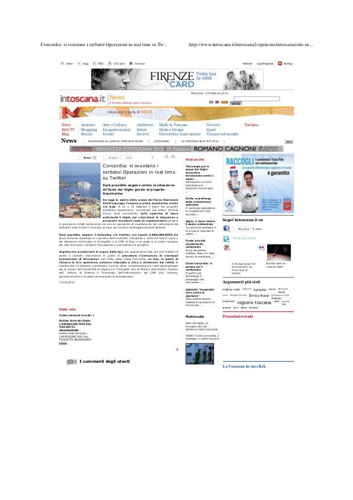 Concordia: si svuotano i serbatoi Operazioni in real time su Tw...                                             http://www....