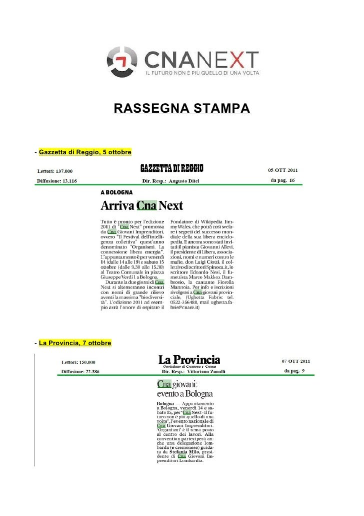 RASSEGNA STAMPA- Gazzetta di Reggio, 5 ottobre- La Provincia, 7 ottobre