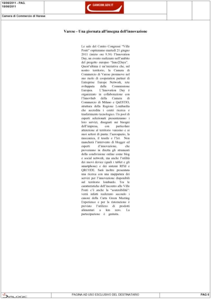Rassegna stampa di Inno2Days: CamCom.Gov.it