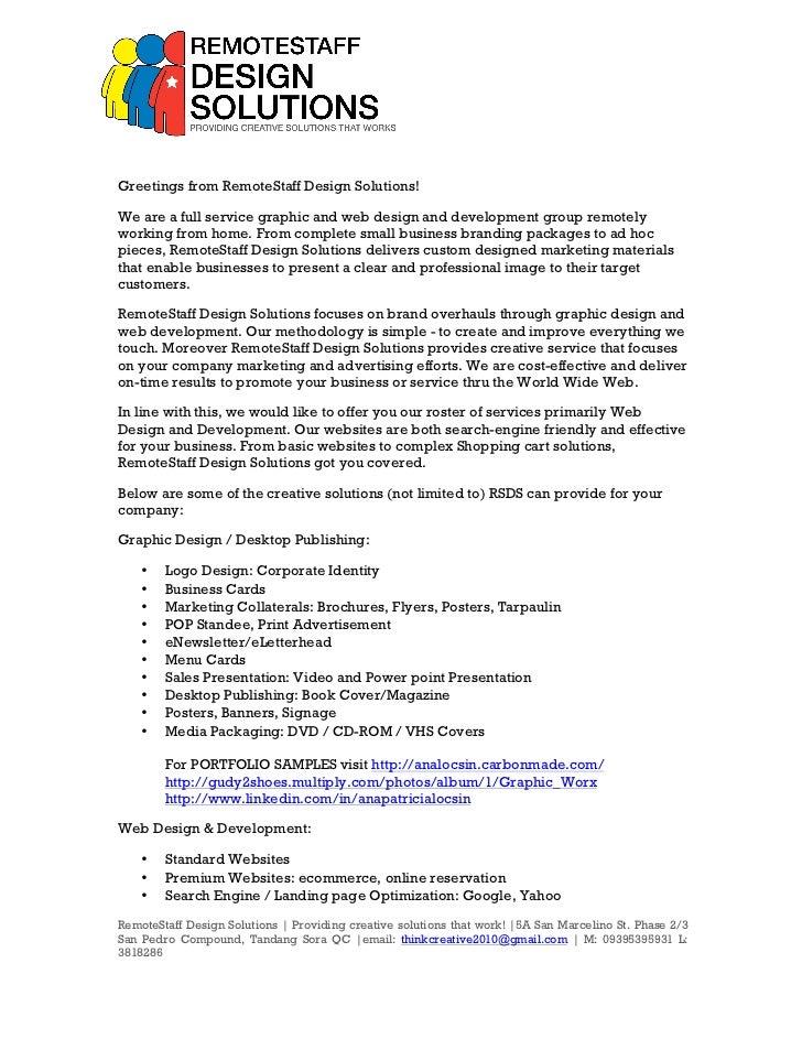 RemoteStaff Design Solutions Rate card