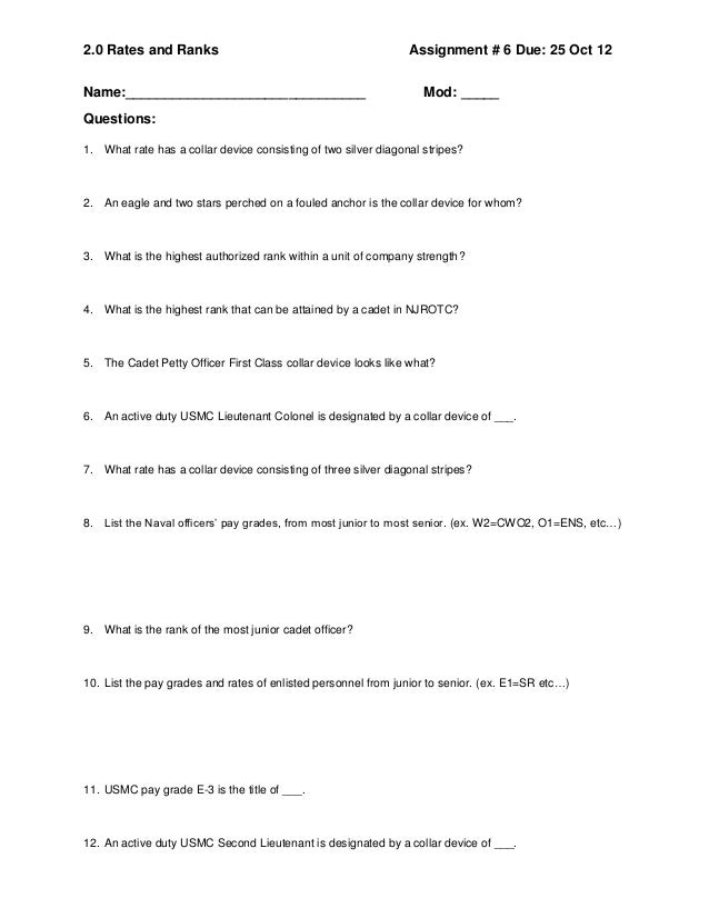 Rates and Ranks questions 2012 13