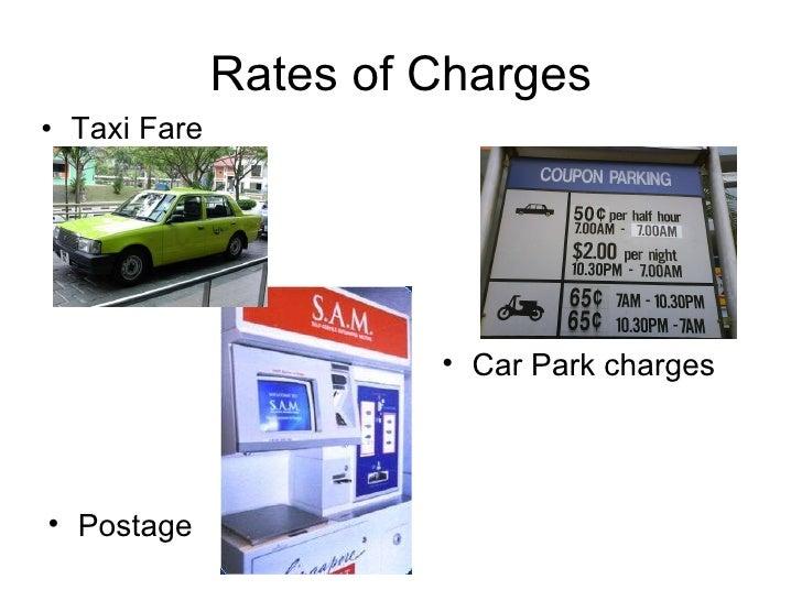 Rates of Charges <ul><li>Taxi Fare </li></ul><ul><li>Postage </li></ul><ul><li>Car Park charges </li></ul>