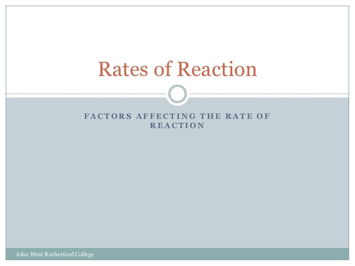 Factors affecting the rate of reaction<br />Rates of Reaction<br />John West Rutherford College<br />