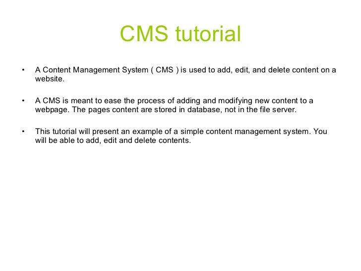 Rathbone cms tutorial