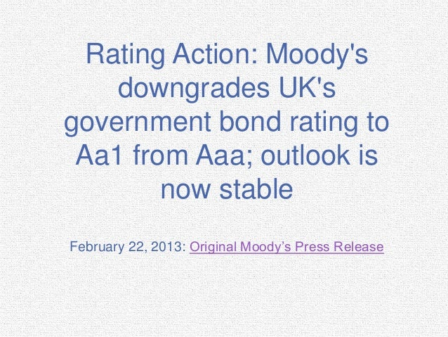 Rating Action- Moody's Downgrades UK's Government Bond Rating to Aa1 From Aaa; Outlook is Now Stable