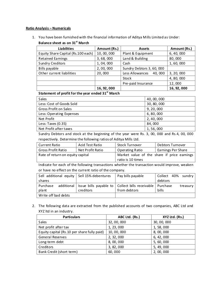 Ratio Analysis – Numericals<br /><ul><li>You have been furnished with the financial information of Aditya Mills Limited as...