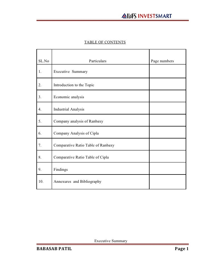 TABLE OF CONTENTSSL.No                         Particulars               Page numbers1.      Executive Summary2.      Intr...