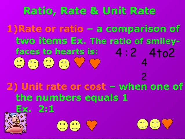 Ratio, Rate & Unit Rate 1)Rate or ratio – a comparison of two items Ex. The ratio of smiley- faces to hearts is: 2) Unit r...