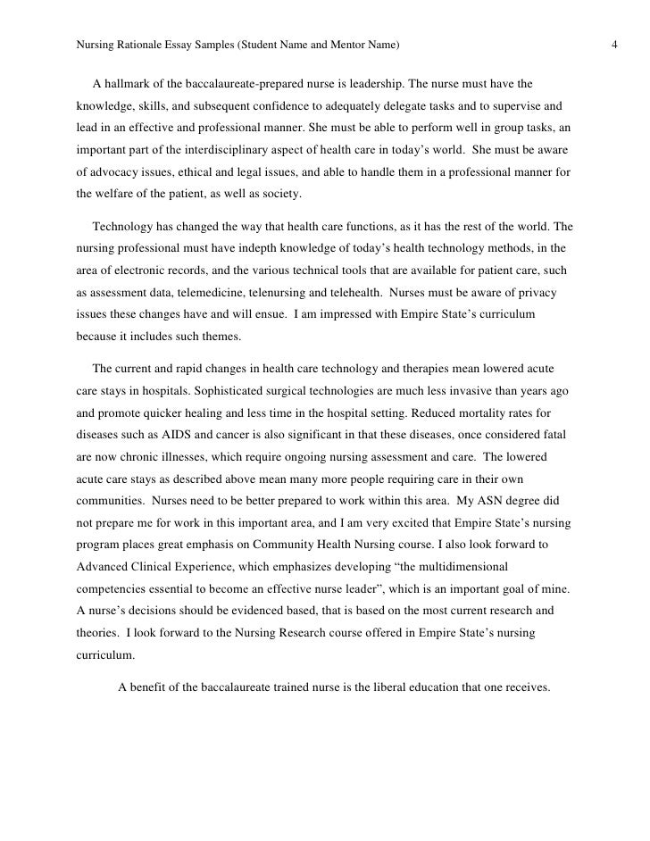 Nursing School Application Essay Example