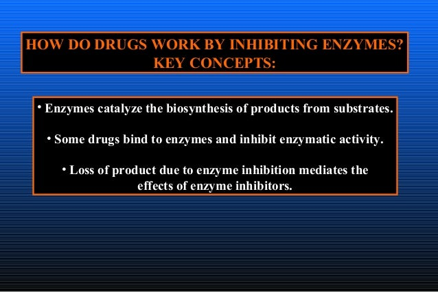 HOW DO DRUGS WORK BY INHIBITING ENZYMES? KEY CONCEPTS: • Enzymes catalyze the biosynthesis of products from substrates. • ...
