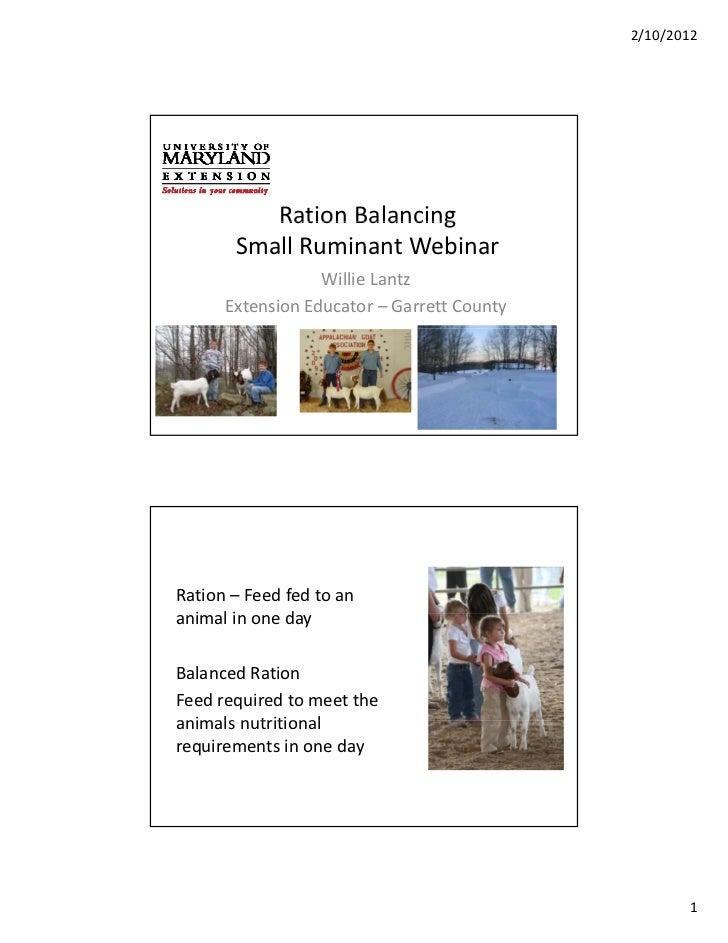 2/10/2012          RationBalancing          Ration Balancing       SmallRuminantWebinar                  WillieLantz ...