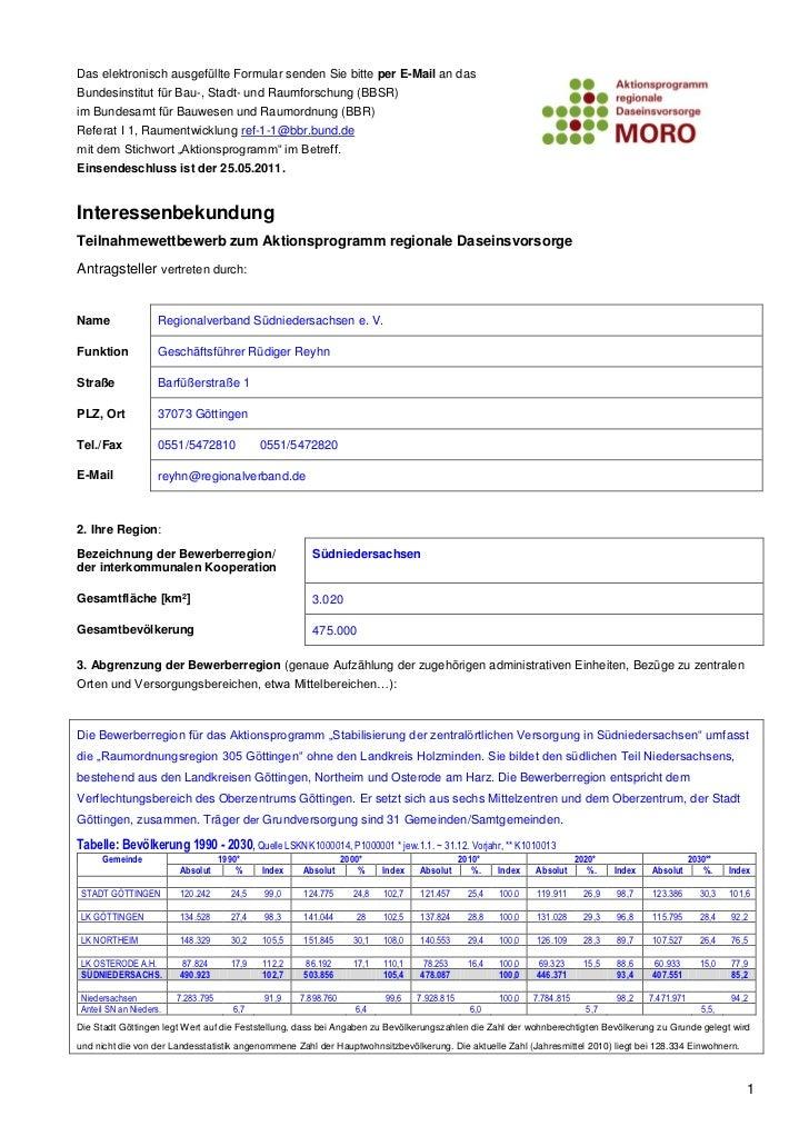 Das elektronisch ausgefüllte Formular senden Sie bitte per E-Mail an dasBundesinstitut für Bau-, Stadt- und Raumforschung ...