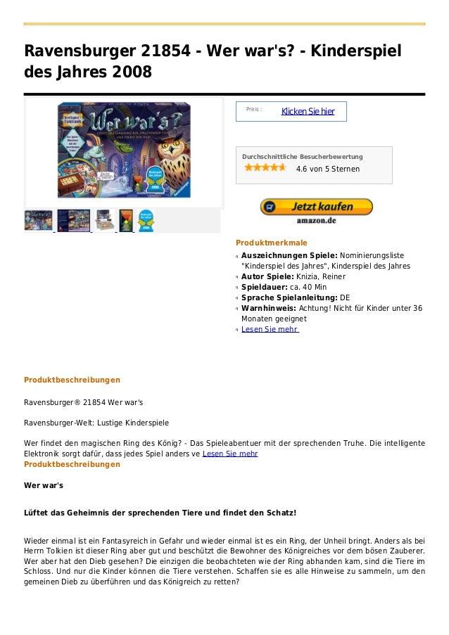 Ravensburger 21854 - Wer wars? - Kinderspieldes Jahres 2008                                                               ...