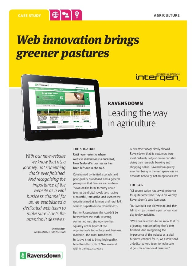 agriculture  case study  Web innovation brings greener pastures  Ravensdown  Leading the way in agriculture THE SITUATION ...