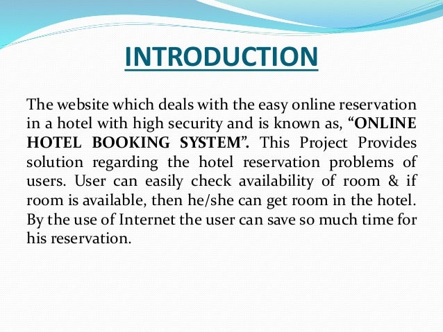 Ravi rana hotel management ppt for The hotel reservation