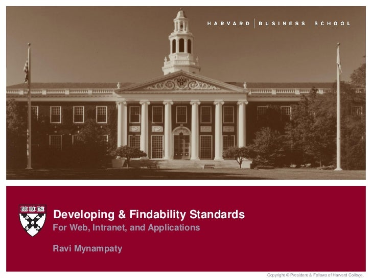 Developing & Findability StandardsFor Web, Intranet, and ApplicationsRavi Mynampaty                                      C...